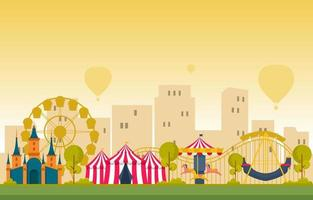 Circus and Amusement Park with Ferris Wheel Illustration vector