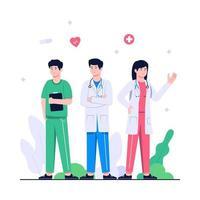 doctor of medical health concept flat illustration vector