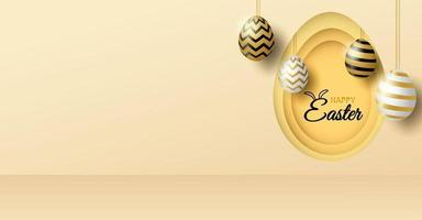 Happy easter theme product display podium. Golden easter egg on light gold background. vector
