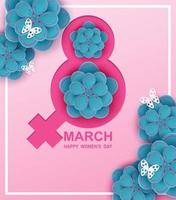 8 march. Happy Woman's Day background. Design with flower and butterflies on pink background. paper art. Vector. vector