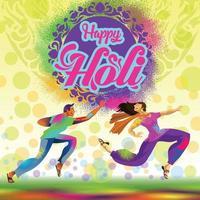 jugadores de holi lanzando polvo de color y celebrando vector