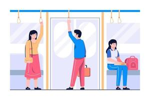 pasajeros en la ilustración del concepto de vagón de metro vector