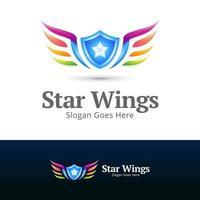multicolor star wings modern logo concept design vector