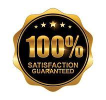 Golden 100 percent Guarantee Sign, Badge, Label vector