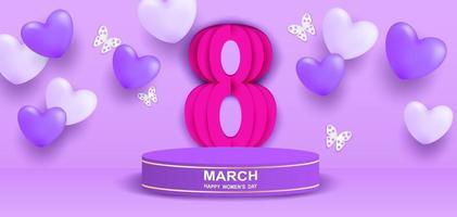 8 march. Happy Woman's Day theme product display podium. Design with heart and butterflies on purple background. paper art. Vector. vector