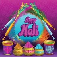 Holi Celebration Poster with color water and Water gun vector