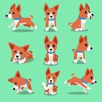 personaje de dibujos animados basenji poses de perro vector