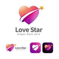 love heart star logo concept design vector