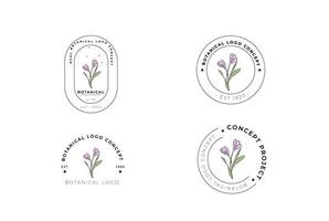 Minimal feminine modern botanical floral organic abstract logo design vector