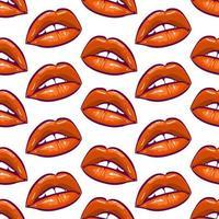 red lips seamless pattern illustration vector