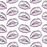 outline lips seamless pattern vector