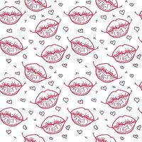 outline red lips seamless pattern vector