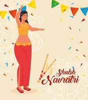 Happy Navratri celebration poster with woman dancing vector