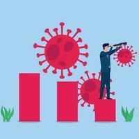 El hombre sostiene binoculares en el gráfico de crecimiento con virus alrededor de la metáfora de la recuperación económica vector