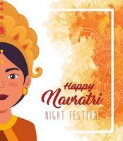 Happy Navratri celebration poster with Durga face vector