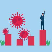 Man stands on growing chart and raises hand with viruses around metaphor economic recovery vector