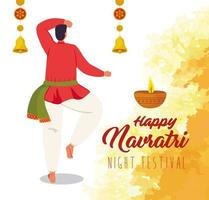 Happy Navratri celebration poster with man dancing vector