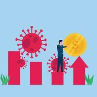 Man puts coin on growing chart with viruses around metaphor economic recovery vector