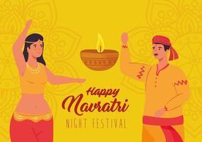 feliz cartel de celebración navratri con mujer y hombre bailando vector
