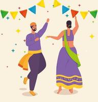 couple with traditional clothes dancing vector