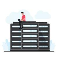 Man sits and upgrades the cloud hosting server vector