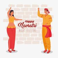 Happy Navratri celebration poster with couple dancing vector