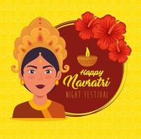 Happy Navratri celebration poster with Durga vector