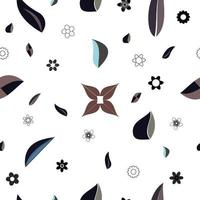 Abstract flat flowers and leaves shapes chaotic vector pattern.