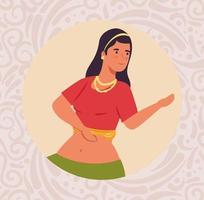 Mujer india con ropa de baile tradicional en marco circular vector