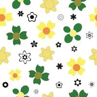 Flat colorful Flowers seamless pattern background. vector