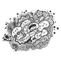 Cartoon cute doodles hand drawn Idea illustration. vector