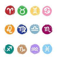 Set of zodiac signs with watercolor elements. Horoscope symbols collection aries, taurus, gemini, cancer, leo, virgo, libra, scorpio, sagitarius, capricorn, aquarius, pisces. Vector illustration.