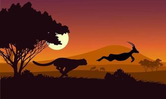 silueta negra. el guepardo persigue el campo de impalas en un safari africano. vector