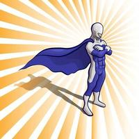 Super Hero in white and purple. Vector illustration on a background.