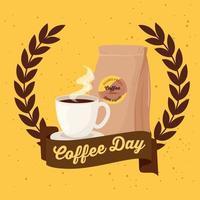 cartel del día internacional del café con taza de café y bolsa vector