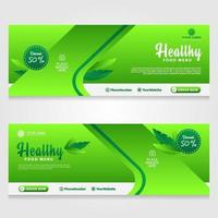 Healthy food menu cover and banner promotion design template vector