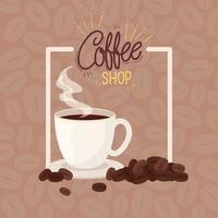 cartel de cafetería con taza de cerámica vector