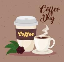 International coffee day poster with coffee cups vector