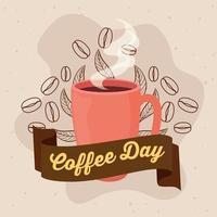 International coffee day poster with ceramic mug vector