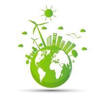 Ecología y concepto ambiental, símbolo de la tierra con hojas verdes alrededor de las ciudades que ayudan al mundo con ideas ecológicas. vector