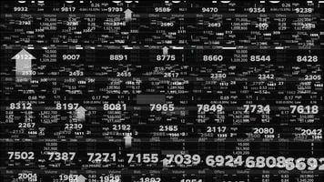 Numbers on the stock board Movement according to world market prices, Big data, Bull market signal