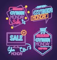 cyber monday neon set icons vector design