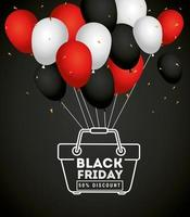 Black Friday sale banner with balloons vector design