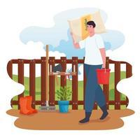 Man gardening outdoors with fertilizer bag vector design