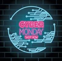 cyber monday neon with circuit vector design