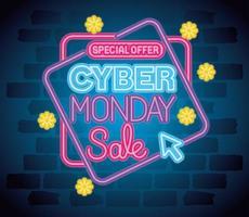 cyber monday neon banner vector design