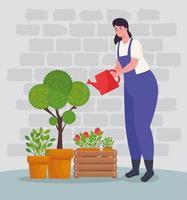 Mujer jardinería con regadera y diseño de vectores de plantas