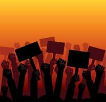 Group of fists raised in air. Group of protestors fists raised up in the air vector illustration