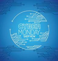 cyber monday with circuit on blue background vector design