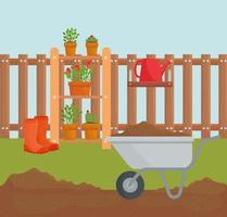 Gardening wheelbarrow and plants in pots vector design
